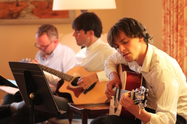 Chris Flockton, Tommy Crawford and Chris Sears rehearse for Only Yesterday